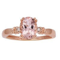 10k Rose Gold Morganite and Diamond 4-Prong Solitaire Ring