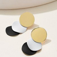 Color-block Disc Stud Earrings 1pair