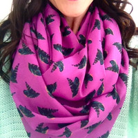 Fuchsia and Feathers Infinity Scarf