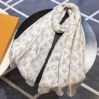 Onewel LV Louis Vuitton Classic Popular Classic Cashmere Scarf Shawl Silk Scarf White