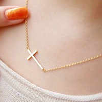 Fashion Golden Cross Necklace