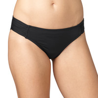 Solid Black Ruched Side Swim Bottom - Black