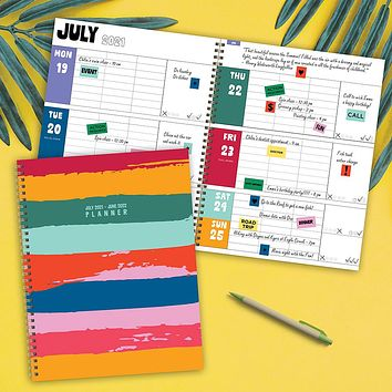 July 2021-June 2022 Painterly Stripes Large Daily Weekly Monthly Planner + Coordinating Planning Stickers