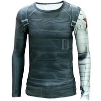 BERTHATINA 3D Winter Soldier Avengers Compression Shirt Men Summer Long Sleeve Fitness Marvel T Shirt Male Clothing Tight Tops