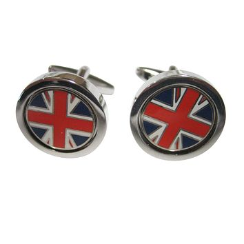 Thick Bordered Circular United Kingdom Union Jack Great Britain Cufflinks