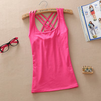Fashion Casual Spring Summer Autumn Women Basic Cotton Sleeveless Tank Tops Vest Tops Candy Color Vest Tank Tops