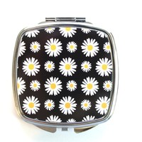 Black and White Daisies Compact Mirror