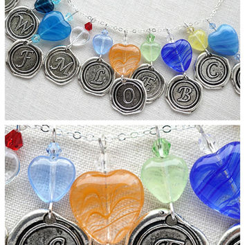 Initial Necklace, Wax Seal Initial with Heart, Alphabet Pendant, Personalized Jewelry, Stamped Necklace, Custom Jewelry, Choose Color