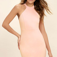 Endlessly Alluring Blush Pink Lace Bodycon Dress
