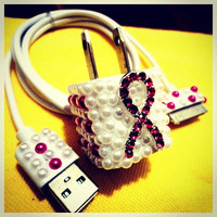 breast cancer awareness iphone charger think pink breast cancer phone accesories