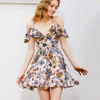 2017 Summer Floral Dress V-neck Chiffon Ruffle One Piece Dress [10907675087]
