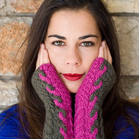 Valentine's day, Cable Knit Hand Warmers, Womens Fingerless Gloves, Hand Knit Arm Warmer, Lady gloves,Woolen gloves, Warm winter accessory