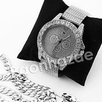 HIPHOP RAONHAZAE SILVER LAB DIAMOND WATCH MIAMI CUBAN CHAIN SX8