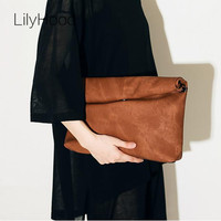 LilyHood Women Fashion Big Clutches Casual Oversized Huge Soft Street Style Brown Black Red Grey PU Leather Clutch Purse Bags