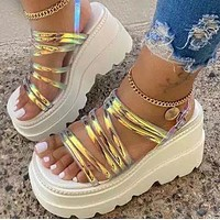 Explosive summer thick-soled waterproof platform slope with high heel women sandals shoes