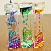 1 Piece Floating Color Mix Illusion Timer Liquid Motion Visual Slim liquid Oil Glass Acrylic Hourglass Timer Clock Ornament Desk