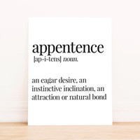 Printable Art Appentence Definition Typography Poster Home Decor Bedroom Decor