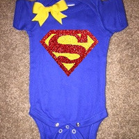 Superman Onesuit - Girl Onesuit - Childrens Clothing  - Ruffles with Love - Baby Clothing - RWL Kids