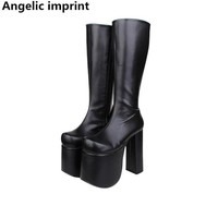 Angelic imprint handmade Women mori girl lady lolita punk motorcycle Boots woman super high heel pumps platform shoes 15cm 33-47