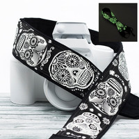 Sugar Skulls dSLR Camera Strap, Glow in the Dark, Dia de los Muertos, Replacement Strap, SLR, Mirrorless, , Camera Neck Strap, 237
