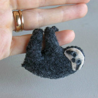 Sloth miniature felt plush stuffed animal with bendable legs and hand painted face -rain forest animal
