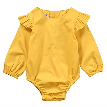 born Toddler Infant Baby Girl Long Sleeve Pure Color Romper Lotus sleeve Jumpsuit Outfit Sunsuits Clothes