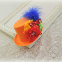 Adult fascinator hat hair clip, hair accessories,gay pride accessories hat, photo prop,rainbow decorated mini top hat