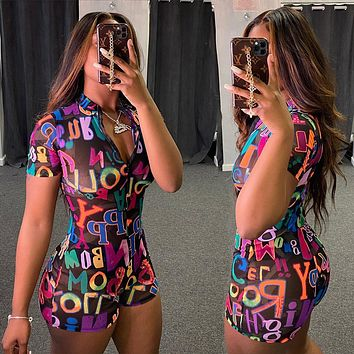 2020 new products women's sexy fashion letter print jumpsuit
