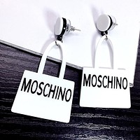 MOSCHINO Classic Catwalk Fashion Women Simple Letter Earrings Accessories Jewelry White