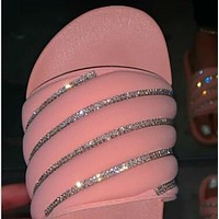 Explosive hot selling all-match sexy rhinestone sandals and slippers