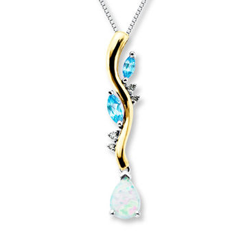 Lab-Created Opal Necklace Blue Topaz Sterling Silver/10K Gold