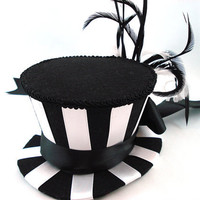 Betelgeuse Black & White Stripe Mini Burlesque Top by angelyques