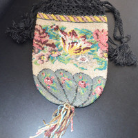 Victorian Micro Beaded Glass Reticule Floral Bag Crocheted Drawstring