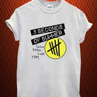 5 second of summer  Music tee Ash Grey t Shirt Men and Women T Shirt more size available
