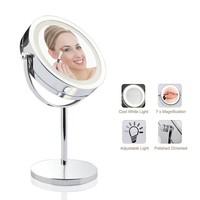 """Lighted Makeup Mirror - LED Vanity Makeup Mirror 7x Magnification Eye Makeup Mirror 7"""" Touch Screen Adjustable Light, Vanity Mirror Polished Chrome Travel Mirror"""