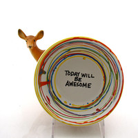 cereal bowl, ceramic cereal bowl, today will be awesome, multicolored rainbow, inspirational gift, back to school