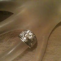 Antique Sterling Ring Silver Hand Carved Etched Signed Flower Scroll Design