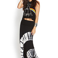 FOREVER 21 Tie-Dye Maxi Skirt Black/Cream Large