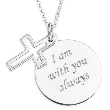 CROSS CHARM OVER MESSAGE DISC  - STERLING SILVER
