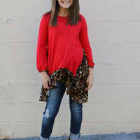 leopard love tunic-red