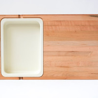 Mid Century Butcher Block Joined Wood Serving Tray Cutting Board with Inlaid Dish 1970's
