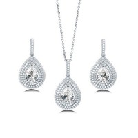 Pear Cut Clear Cubic Zirconia CZ 925 Sterling Silver Halo Pendant Necklace Dangle Earrings And Ring Matching 3 Pc Set #vs179