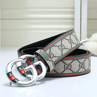 GUCCI GG Men Woman Fashion Smooth Buckle Leather Belt-4