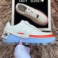Nike Air Force 1 AF1  Low Tops White Blue Orange Women Shoes Contrast Sneakers