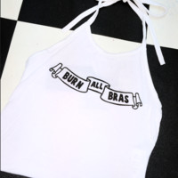 SWEET LORD O'MIGHTY! BURN ALL BRAS HALTER IN WHITE