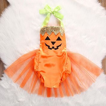2017 Cute Newborn Infant Baby Girls Halloween Pumpkin Clothes Baby Girls Sleeveless Jumpsuit Bodysuit TUTU Dress Costume Outfit