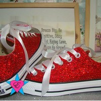Red and Clear Crystal Low Top Converse with Ribbon Laces and Name