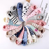 LNRRABC Cute Lovely Women Socks 3D Cartoon Animal Zoo Cotton Soft Creative Kawaii Girls Socks Women Accessories