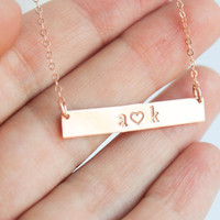 Rose Gold Initial Necklace, Couples Necklace, Love Necklace, Rose Gold Love Letters Necklace