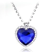 Crystal Titanic Heart Of Ocean Love Necklaces Pendants For Women Fashion Jewelry Birthday Best Friend Gift Pendant Drop Shipping